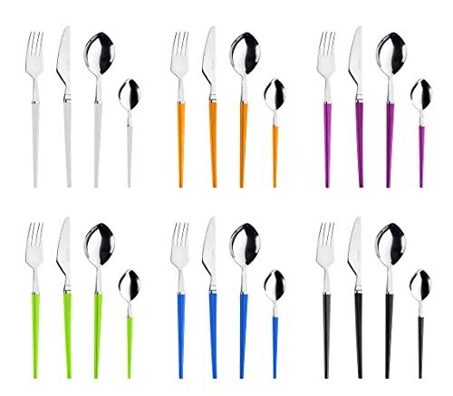 Pintinox Set da 24 Posate Serie Target in Acciaio Inox Nichel Free, con manico multicolor