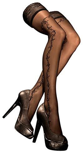 Unbekannt Ballerina Halterlose Damen-Strümpfe, schwarz, mit Muster, Strapsoptik Größe Large/X-Large