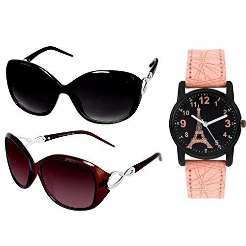 Y&S Sunglasses Watch Combo in Black Brown Butterfly Ladies Design With Parys Effel Towar Watch