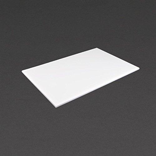 Tabla de cortar Hygiplas antibacteriana de baja densidad, blanca, 450 x 300 x 10 mm para leche.