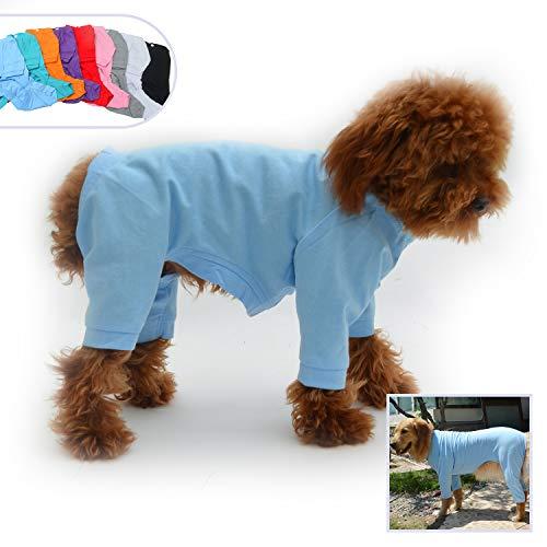 lovelonglong Hund Pyjamas 4 Beine Bedeckt Welpen Kleidung Elastische Atmungsaktive Hund Overalls Mantel für Kleine, Mittlere, Große Hunde Lightblue XS