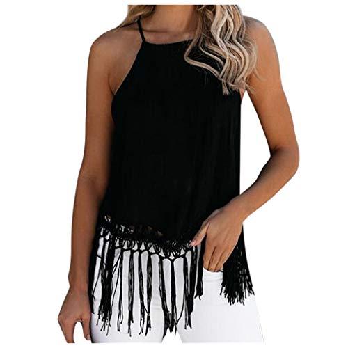 VICKY-HOHO Summer New Crochet Stitching Camisole Strandbluse mit Fransen, Neckholder mit Haarhaken und Fransen, Strandbluse