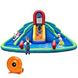 GOFLAME Inflatable Water Slide, Kids Inflatable Bounce House with Large Splash Pool, 2 Slides and 2 Water Cannons, Water Slide Park with Carry Bag, Stakes, Repair Kit (with 780W Air Blower)