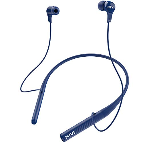 Mivi Collar 2B Wireless Earphones. Bluetooth Earphones with Fast Charging, 17hrs Playtime, Powerful Bass, HD Sound and Made in India - Blue