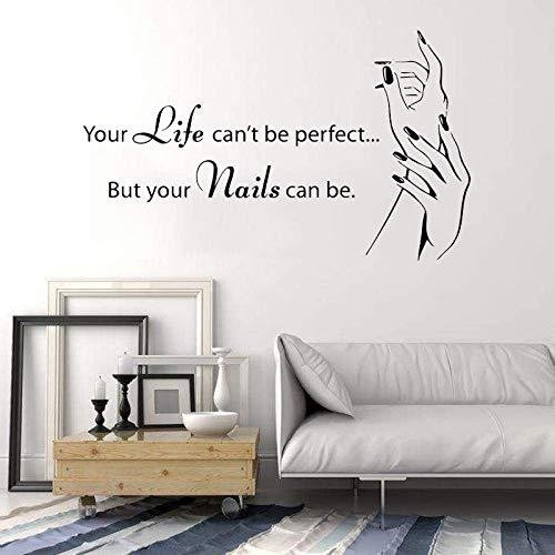 Fenster Zitat Nagelstudio Wandaufkleber Schönheitssalon Nagel Dekor Vinyl Nail Art Studio Nagellack Maniküre Pediküre Wandbild Diy 1 95X57 Cm
