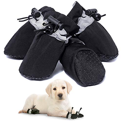 SATTARO Dog Boots & Paw Protector for Small Medium Dog, Anti-Slip Dog Shoes for Hot Pavement with...
