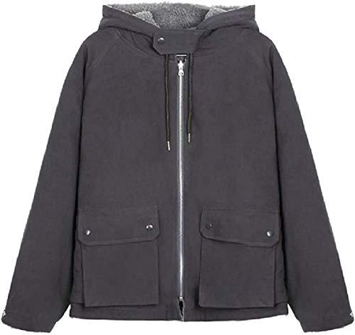 Abrigo con capucha de moda para mujer, ajuste holgado, con cremallera, bolsillos
