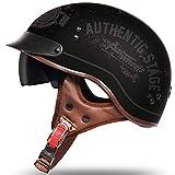 Casco Half de La Motocicleta,Retro Harley Cascos Certificado DOT/ECE Adultos Casco de La Bici Casco del Viaje del Estilo Crucero Bicicleta Chopper Vespa Para Hombres C,XL