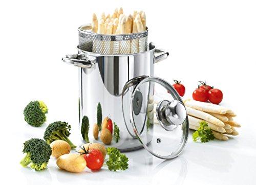 Culinario, pentola per verdure, per asparagi, in acciaio inox, diametro di 16 x 21 cm, con coperchio in vetro e cestello, per pasta, spaghetti, salcicce, di Karl Krüger