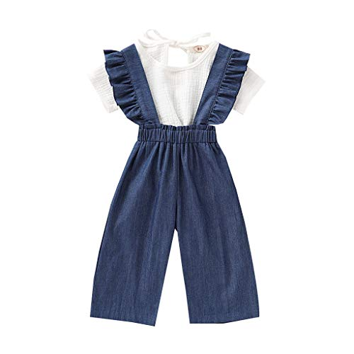 Moneycom❤Toddler Baby Girls Manches Courtes Solid Tops + Ruffle Denim Suspender Pants Outfits Blanc(3-4 Ans)