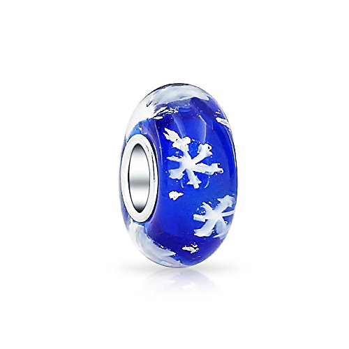 Royal Blue Snowflake Murano Glass 925 Sterling Silver Core Spacer Bead Fits European Charm Bracelet For Women For Teen