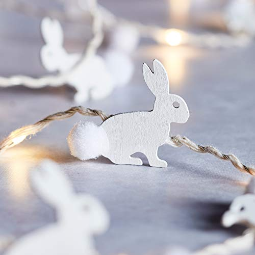 Lights4fun 20 Wooden Easter Bunny String Lights Warm White Micro LED Silver Wire 2m with Timer