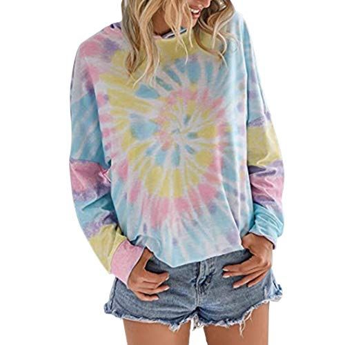 SEXOX Women's Long Sleeve Tie Dye Sweatshirt Multicolor Casual Tops Round Neck Loose Blouse Shirt Ladies Pullover Jumper Sweater Slim Fit Casual