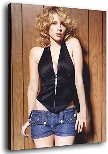 PUYIQARE Canvastryck 60 cm x 90 cm ingen ram Scarlett Johansson hand i jeans affisch modern familj sovrum dekor affischer