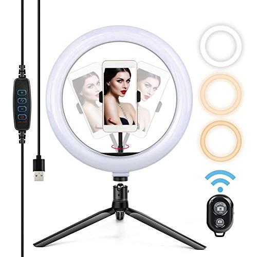 """Anillo de luz LED para Escritorio, Soporte para teléfono con luz de Relleno Regulable de 10""""con trípode para transmisión en Vivo, Maquillaje, cámara, Selfie, alimentación por USB"""