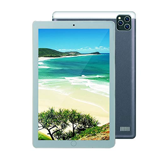 WOkismx 10.1Loll Android 8.1Ips Tablet Pantalla De La Tableta Reconocimiento De La Cara Tarjeta SIM Dual WiFi 8 + 128G 1280 * 800 Puede Llamar HD,Plata