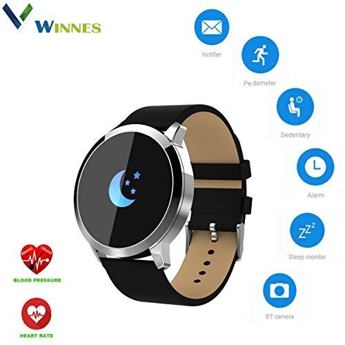 Winnes Smartwatch Smartwatch, Bluetooth, Farbdisplay, OLED Smartwatch, für Männer und Frauen, Fitness, Herzfrequenz-Tracker, Sport, Fitness, Wearable Smart Band Uhren