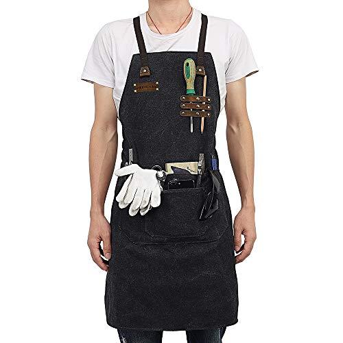 Jexicase werkschort verstelbaar, voor heren, multifunctioneel gereedschap, met tas van linnen, waterdicht, duurzaam zwart.