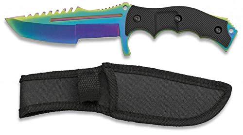 KOSxBO® Huntsman Knife CS GO - Taschenmesser - Gürtelmesser - festehende Klinge - Messer mit Scheide - Outdoor - Survival - Tactical Knives, Rainbow