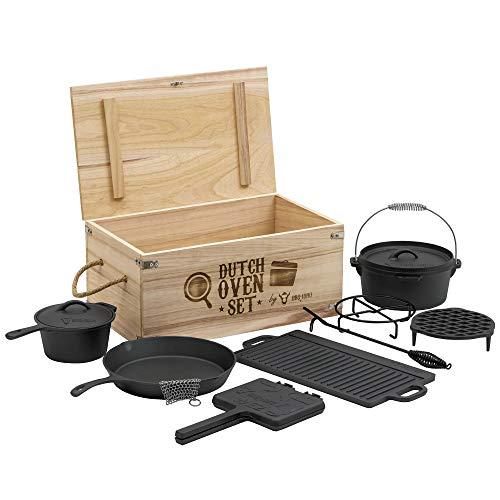 BBQ-Toro Dutch Oven Set in Holzkiste mit Dutch Oven und mehr | Gusseisen - bereits eingebrannt (10-teilig)