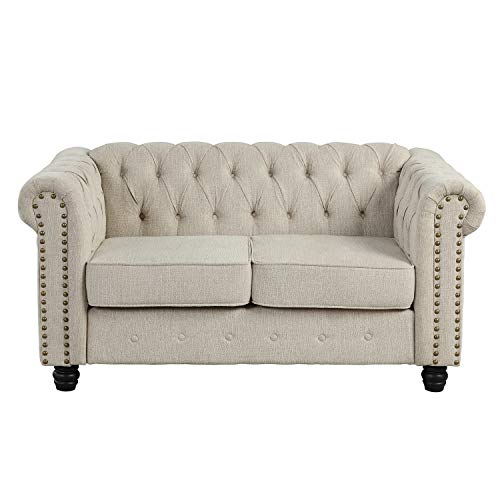 Morden Fort Couches for Living Room, Loveseat for Living Room Furniture Sets, Loveseat, Fabric, Linen Beige