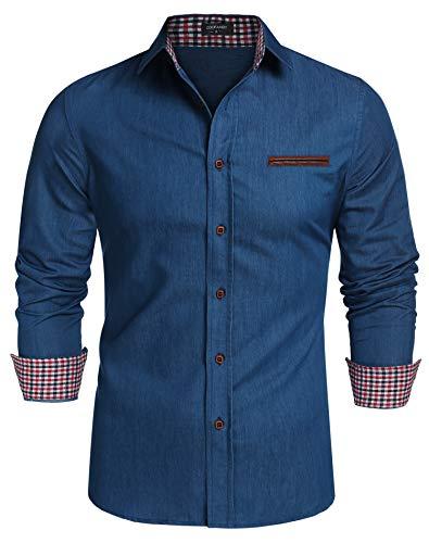 COOFANDY Herren Hemd Slim Fit Freizeithemd Barstow Western Langarmhemd Freizeit Business Party Shirt für Männer