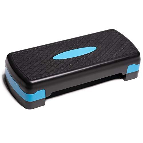 PRISP Stepper d'Aérobic et de Fitness 68 cm à 2 Niveaux (10/15cm), Step Aérobic d'exercice, Plateforme à Hauteur Réglable; 68 x 28 cm