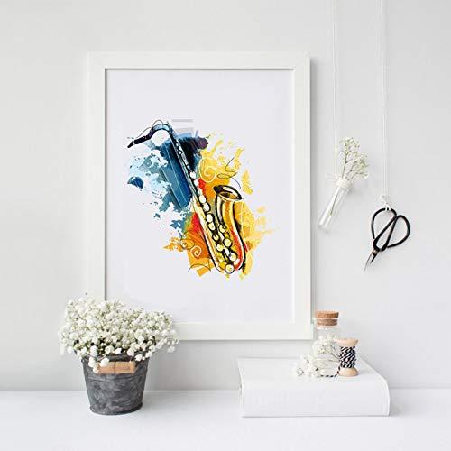 ZWBBO canvas schilderij decoratief schilderwerk muziekinstrumenten saxofoon kunstdruk voor wandbehang aquarel canvas Jazz schilderij afbeelding saxofoon decoratie