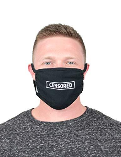 B-Wear Sportswear Censored Cloth Face Covering (Black) - Black