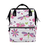 WIHVE Casual Backpack Cute Romantic Pink Butterflies Dragonflies And Flowers Stripes Diaper Bag Wide Doctor Style Top Opening
