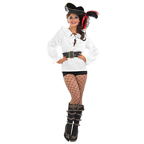Fun Shack Blanca Camisa Pirata Blanca Disfraz para Mujeres - S