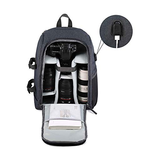 G-raphy Camera Backpack Photography Camera Bag Waterproof with Laptop Compartment/Tripod Holder for DSLR SLR Cameras (Grey)
