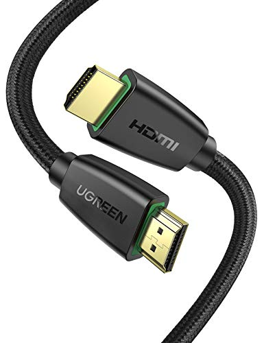UGREEN HDMI Cable 4K Braided High Speed HDMI Cord 18Gbps with Ethernet Support 4K 60HZ Compatible for UHD TV Monitor Computer Xbox 360 PS5 PS4 Blu-ray and More 6FT