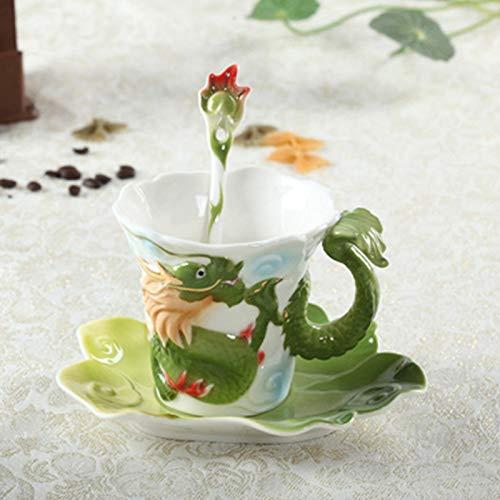 qingci Taza De Café De Porcelana Esmaltada Taza Tamron Creativa 301-400Ml Verde