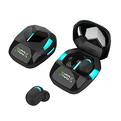Earbuds, True Wireless Bluetooth Headphones TWS Gaming Headset Wireless Charging Case Digital LED Intelligence Display IPX4 Waterproof Earphones Built-in Mic Headset for Sport Black