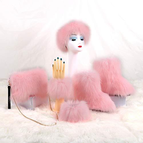 AELEGASN Moda de cuatro piezas traje de moda mullido de felpa botas de nieve de imitación de piel de zorro botas de mujer zapatos calientes zapatos peludos bolsa diadema y puños conjunto, 3,37