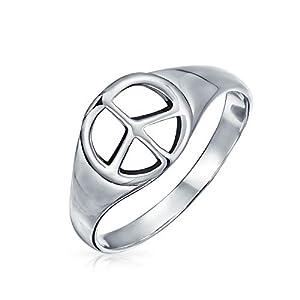 925 plata esterlina ancha abierto símbolo mundial signo de paz anillo de señalización para los hombres para las mujeres… | DeHippies.com