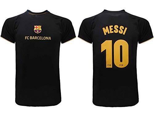 Barcelona Offizielles FC 2021 Fußballtrikot – Messi Nummer 10 – Transport-Trikot – Schwarz (12 Jahre)