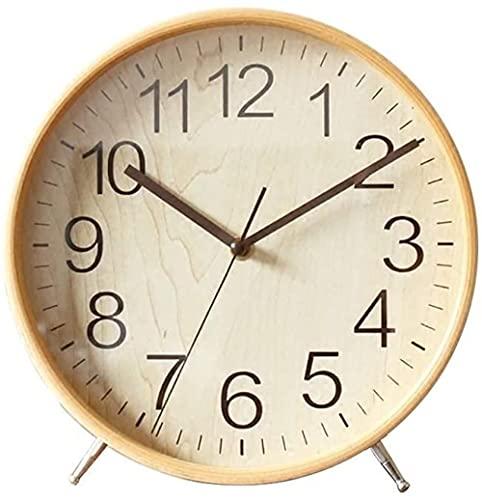 Reloj de mesa de madera maciza silencioso, reloj de escritorio antiguo para el hogar, habitación decorativa, funciona con pilas, silencioso, retro, gabinete de TV, adornos nórdicos (color: amarillo)