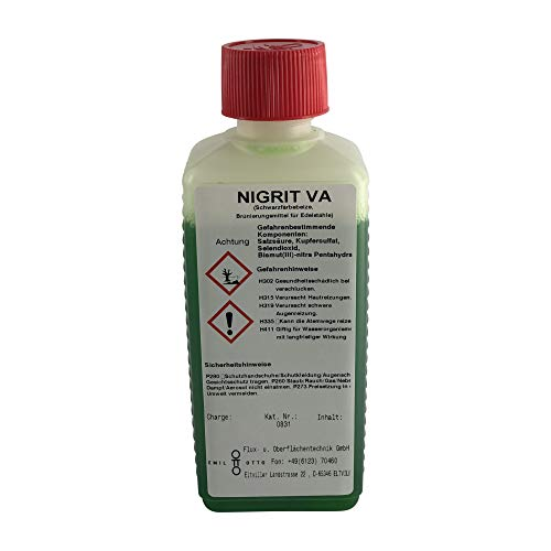 250 g Schwarzfärbe-Schnellbeize NIGRIT'VA', zum Kaltbrünieren - Schwarzfärben und Korrosionsschutz für Edelstähle (nicht rostende Stähle, VA-Stähle)