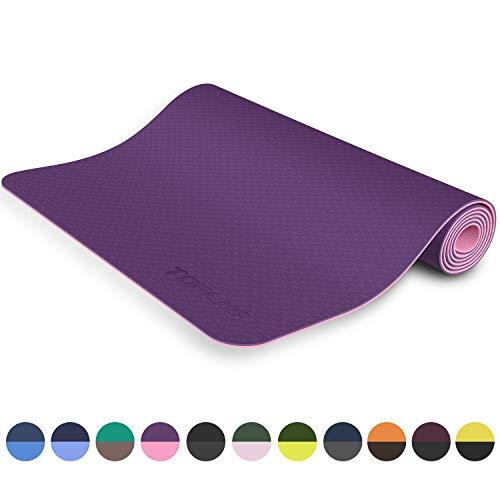 TOPLUS Preumium Yogamatte aus hochwertigen TPE, rutschfest Yogamatte Gymnastikmatte Übungsmatte Sportmatte für Yoga, Pilates,Fitness usw.-Lila