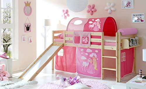 lifestyle4living Hochbett für Kinder in pink-braun mit Rutsche, Vorhang im Prinzessin Motiv | Spielbett aus Kiefer Massivholz mit Einer Liegefläche 90x200 cm