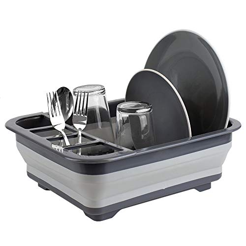 Photo of a dark and light gray colored Home Basics Collapsible dish rack