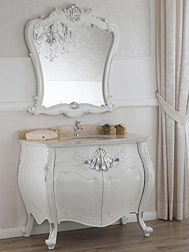 SIMONE GUARRACINO LUXURY DESIGN Meuble Salle de Bain avec Miroir Anderson Style Baroque Moderne bombé Blanc laqué et Feuille Argent marbre crème poignées Crystal SW