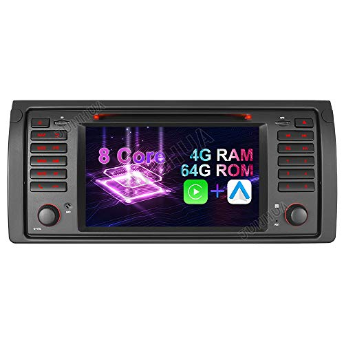 Android 10.0 Octa-Core 4GB RAM+64GB ROM DVD GPS Navigation Autoradio Android Auto+Carplay DSP USB SD CD Bluetooth Dual Zone Subwoofer WiFi OBD2 Für BMW E39 (5er, M5) E53 (X5) 530 520 528