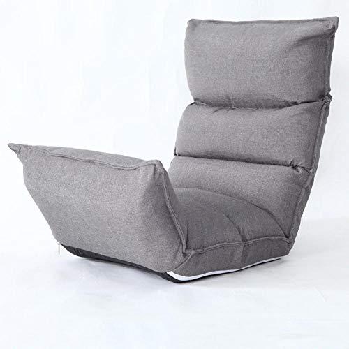 SFDIYI Silla De Piso Plegable Estilo Japonés Banco De Meditación Balcón Dormitorio Juegos Lectura Ajustable Sillón Gris Lavable