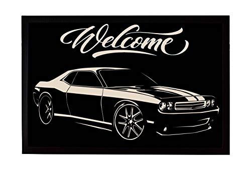 Zerbino, tappetino per porta, stampa con motivo per porta, idea regalo per trasloco o ingresso America Dodge Muscle US-Car Auto 60 x 40 cm