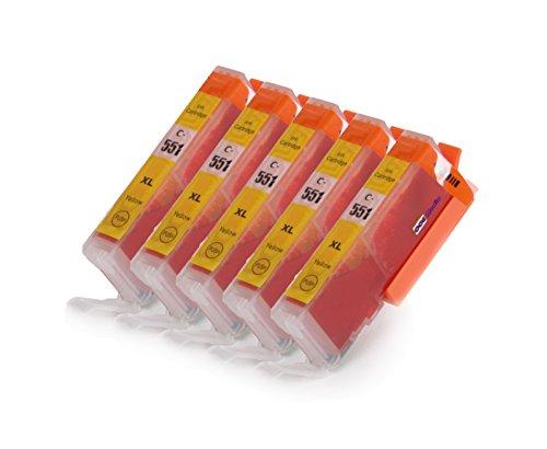 5er Set Druckerpatronen kompatibel zu Canon CLI-551Y XL / Gelb / geeignet für CANON Pixma iX6850 / iP7250 / iP8750 / MG5450 / MG5550 / MG6350 / MG6450 / MG7150 / MX725 / MX925