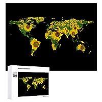 INOV 世界地図 シルエット-ヒマワリ ジグソーパズル 木製パズル 500ピース キッズ 学習 認知 玩具 大人 ブレインティー 知育 puzzle (38 x 52 cm)
