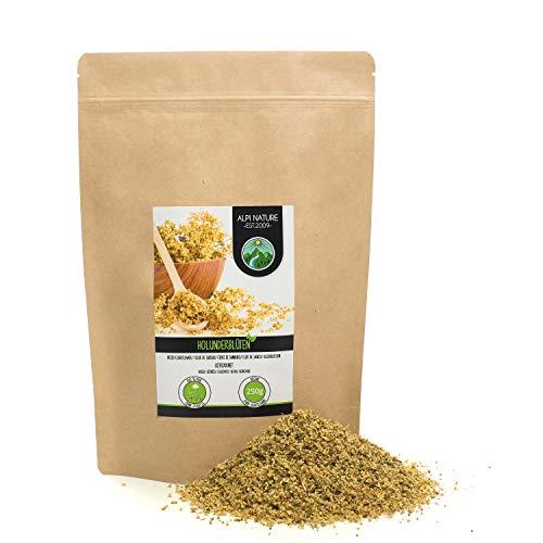 Infusión de flor de saúco (250g), té de flor de saúco secada suavemente, flor de saúco frotada, 100% puro y natural para la preparación de té de baya del saúco
